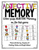 Adjective Memory Game- FREEBIE!