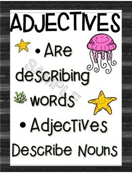 Adjective Mini Book Ocean Theme
