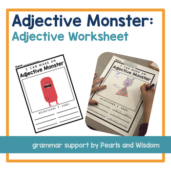 Adjective Monster - No-Prep Grammar Worksheet