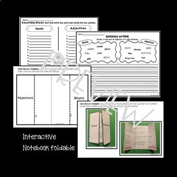 Adjective & Noun Practice for ELLs: Word Cards, Sentence Practice & Sorts