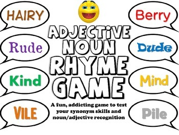 Adjective Noun Rhyme Game