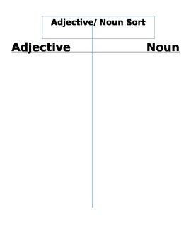 Adjective Noun Sort