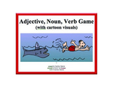 Adjective, Noun, Verb Game (with cartoon visuals)