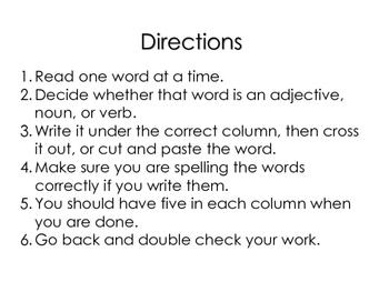Adjective, Noun, Verb Sorts