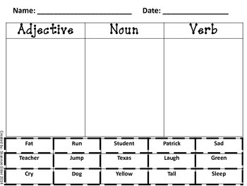 Adjective, Noun, and Verb Sort