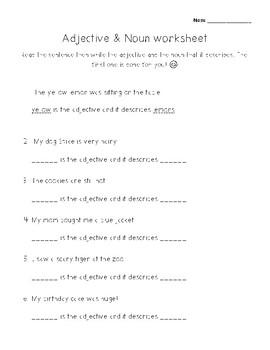 Adjective & Noun worksheet