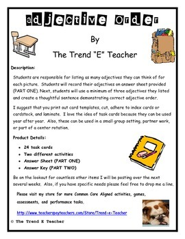 Adjective Order Task Cards:  Two Activities, Common Core Aligned