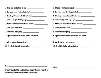 Adjective Pack--pretest/ worksheets/activities--post test