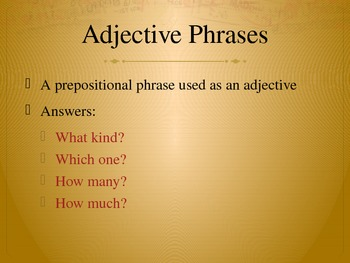 Adjective Phrases Lesson