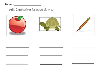 Adjective Picture Match Literacy Center Common Core