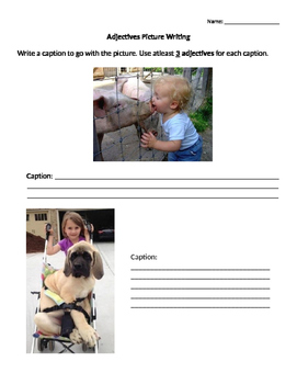Adjective Picture Writing Activity