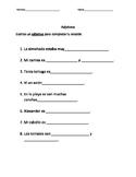 Adjective Practice (Spanish)- Practica de adjetivos