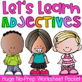 Adjectives Printable Worksheet Pack - Kindergarten First Second Grade