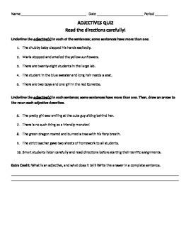 Adjective Quiz and Key