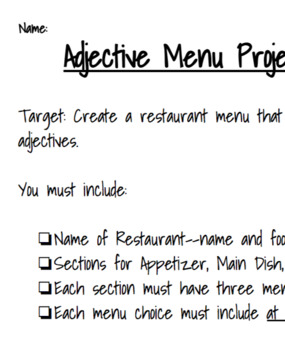 Adjective Restaurant Menu project