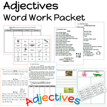 Adjective Word Work Packet