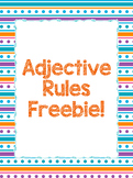 Adjective Rules in Spanish Freebie