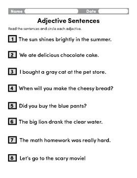 Adjective Sentences