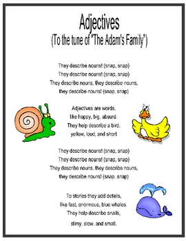 "Adjective Song sung to ""The Adams Family"""