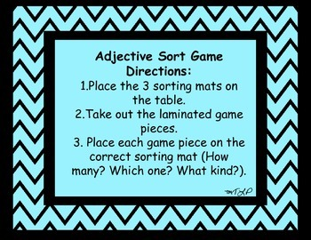 Adjective Sort Game