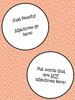 Adjective Sort and Sentence Activity Peach Rings