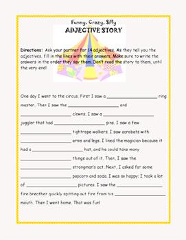Adjective Story Activity