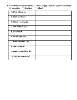Adjective Student Worksheet