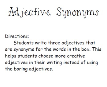 Adjective Synonyms