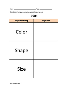 Adjective T-Chart