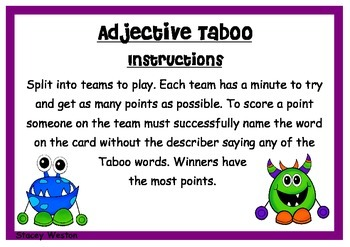 Adjective Taboo - VCOP