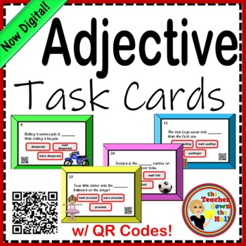 Adjective Task Cards - 24 Cards w/ QR Codes!