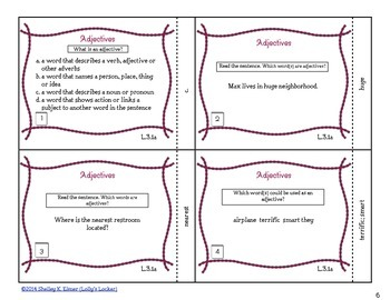 Adjective Task Cards CC.L.1.a