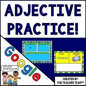 Adjective Task Cards Grammar Practice Google Classroom Activities