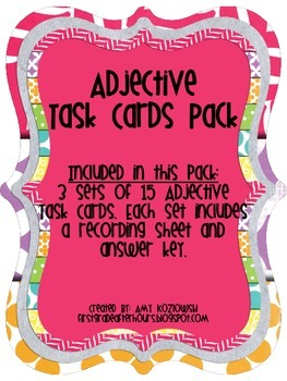 Adjective Task Cards Pack