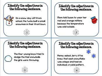 """Adjective Task Cards """"Winter Themed"""""""