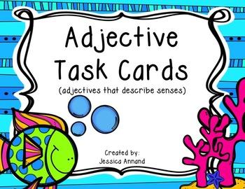 Adjective Task Cards - describe senses