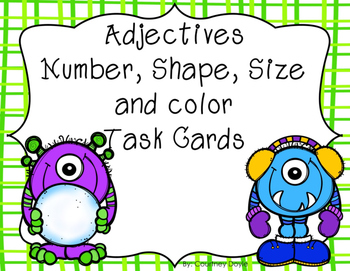 Adjective Task Cards (size, shape, number, color)