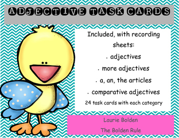 Adjective Task Cards with Recording Sheets