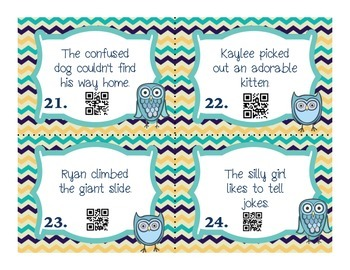 Adjective Task Cards with Self-Checking QR Codes and Response Sheet