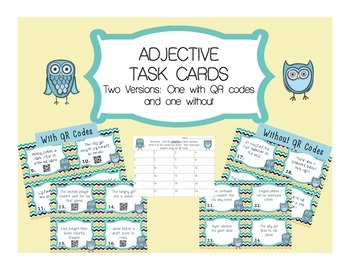 Adjective Task Cards with Self-Checking QR Codes and Respo