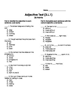 Adjectives Test Worksheets & Teaching Resources | TpT