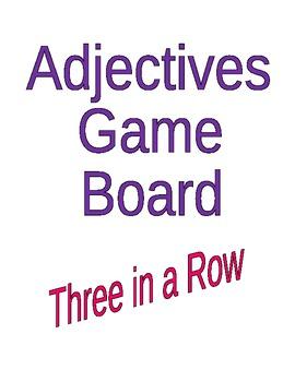 Adjective Tic Tac Toe