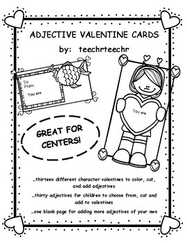 Adjective Valentine Coloring Cards