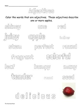 Adjective Word Coloring