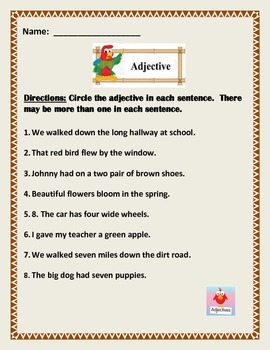 Adjective Worksheet.  5 page of 8 sentences. Common Core.