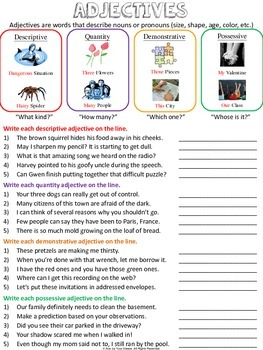 Adjective Worksheets and Test