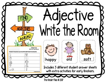 Adjective Write the Room- Includes 3 levels of answer sheets