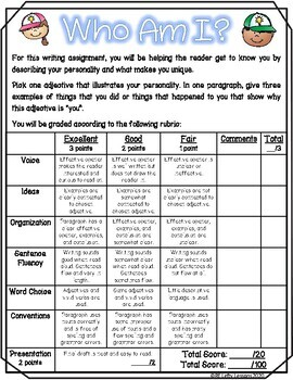 Puzzle People-Adjective Writing Assignment