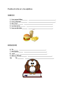 "Adjective agreement and verb ""to be"" practice worksheet"