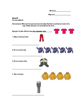 Adjective agreement with clothes and colors